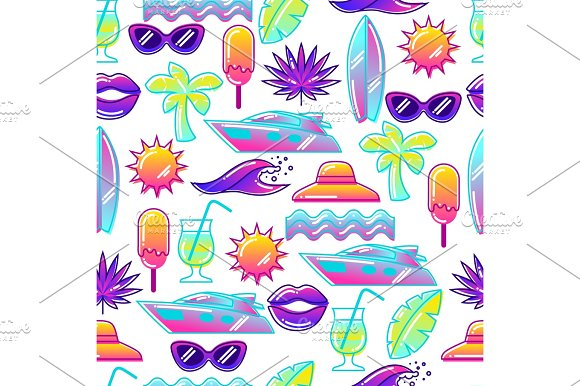 Seamless Pattern With Stylized Summer Objects Abstract Illustration In Vibrant Color