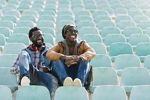 Two black race friends having fun.