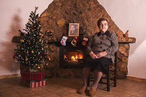 Grandma with fireplace on Christmas