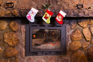 Socks in chimney on Christmas