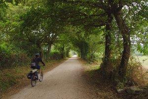 camino de santiago riding a bicycle