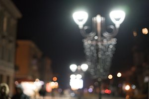 Night city street lights bokeh background