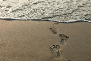 human footprints and beach