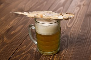 Fish on frothy beer