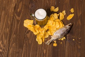 Chips, beer and fish