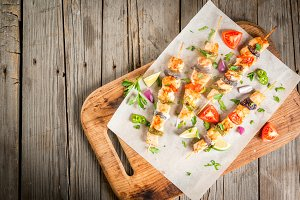 Fajita chicken kebabs