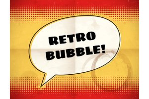Retro speech bubble on halftone card