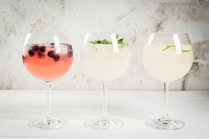 Selection of 3 kinds of gin tonic