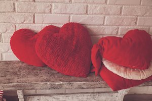 Heart-shaped pillows