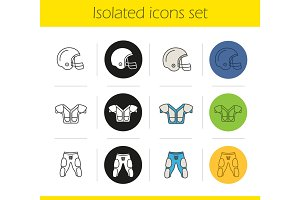 American football player's uniform icons set