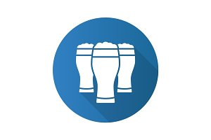 Three beer glasses. Flat design long shadow icon