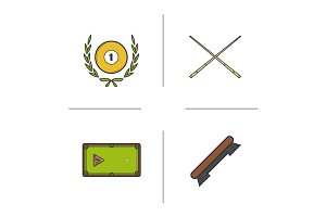 Billiard championship color icons set