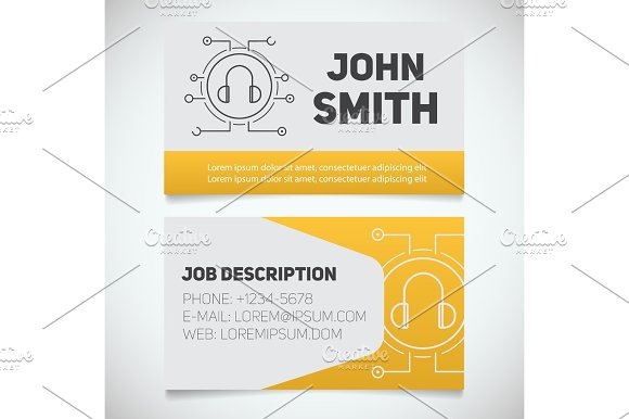 Business card print template with headphones logo