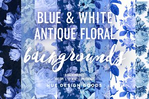 Blue & White Floral Rose Backgrounds