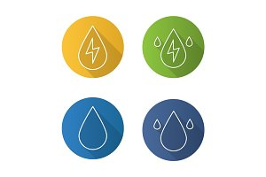 Water energy flat linear long shadow icons set