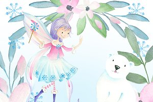 Winter snow fairy clipart