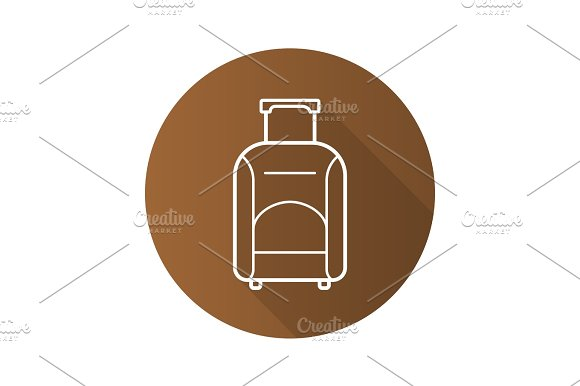 Luggage Suitcase On Wheels Flat Linear Long Shadow Icon