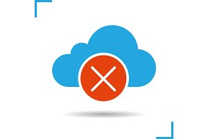 Cloud storage error glyph icon