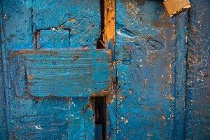 Vintage blue wooden door closeup