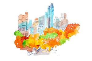 City park in autumn skyscrapers and colorful trees watercolor illustration.