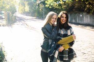 Fashion girls posing on the street