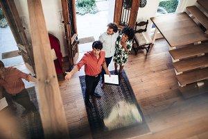 Estate agent presenting house