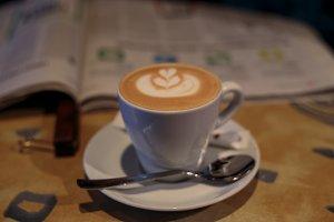 Coffee break and a newspaper