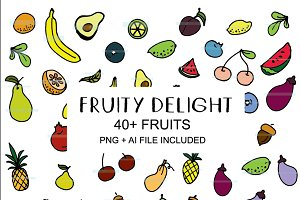 HAND DRAWN FRUIT BUNDLE - VEGAN