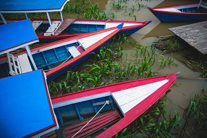 Cultural Wooden Boats on River