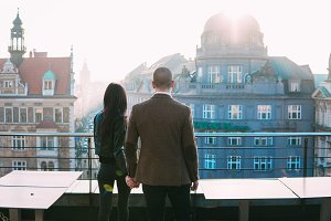 Couple in love on roof in old city