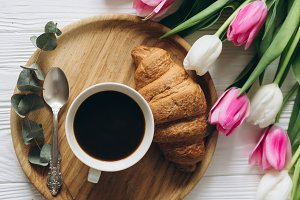 Tulips, croissants and coffee.