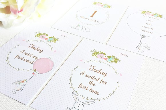 Bunny Baby Milestone And Month Cards