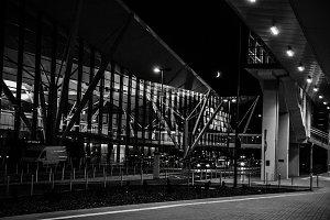 Modern airport at night