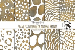 Seamless Watercolor AnimalPrints GS