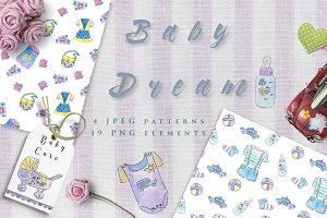 Baby Dream set patterns & clipart
