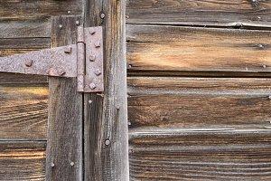 Rusted Strap Hinge on Old Barn Door