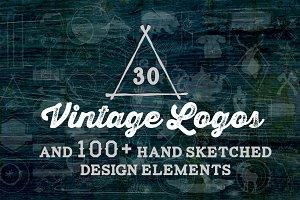 30 Vintage Logos + Design Elements