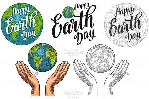 Planet Earth open female human palms