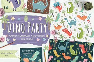 Dino Party: patterns & illustrations