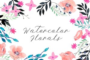 Spring Watercolor Florals (vector)