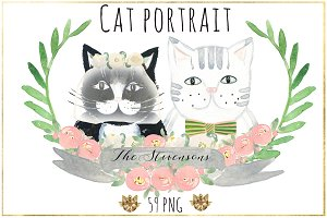 Cat portrait creator. Watercolors.