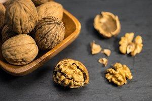 nuts on a slate plate