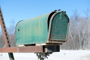 Green Mailbox on Rural Road