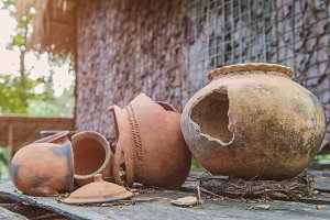 Broken antique clay pot