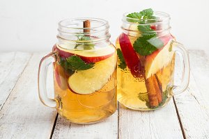 ice tea with apple,mint,cinnamon