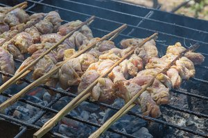 Grill of Chicken on stove