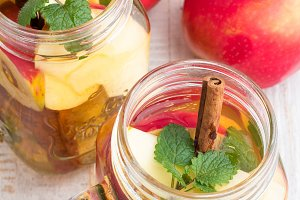 ice tea with apple,mint in glass