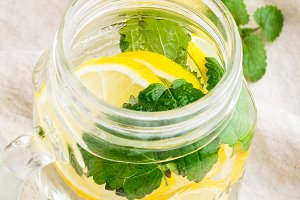ice water with lemon,mint