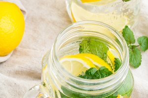 water with lemon,mint top view