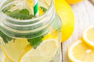 water with lemon,mint close-up